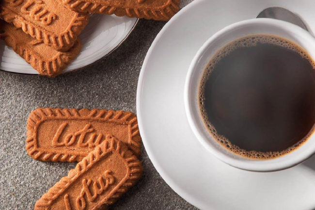 Lotus Bakeries biscoff cookies and coffee