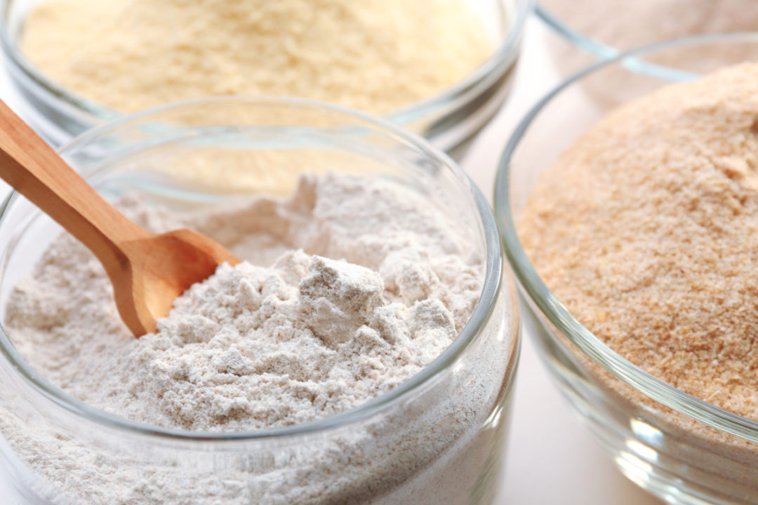 Jars of different types of specialty flours