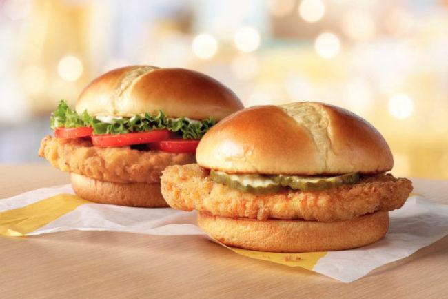 McDonald's chicken sandwiches