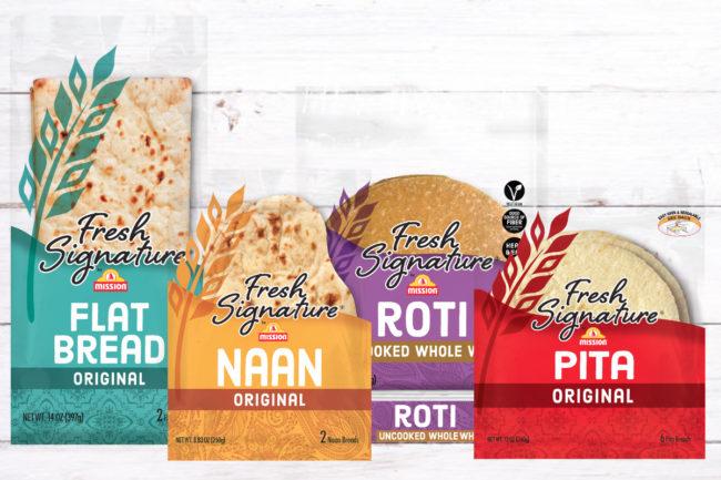Mission Foods Fresh Signature flatbread, pita, roti and naan