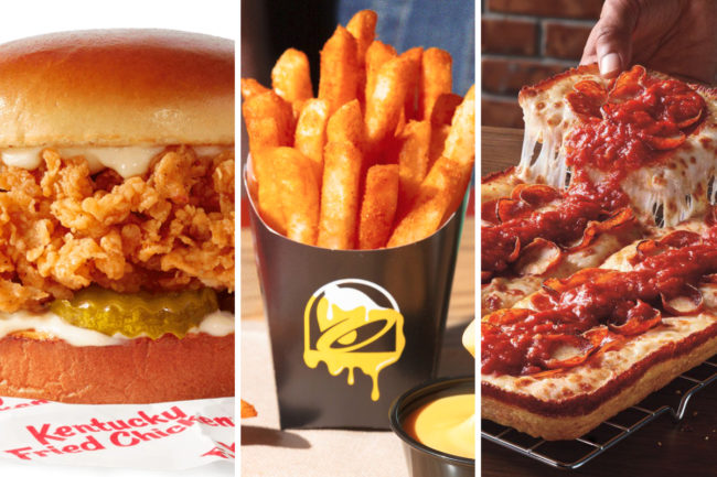 KFC Chicken Sandwich, Taco Bell Nacho Fries and Pizza Hut Detroit Style Pizza