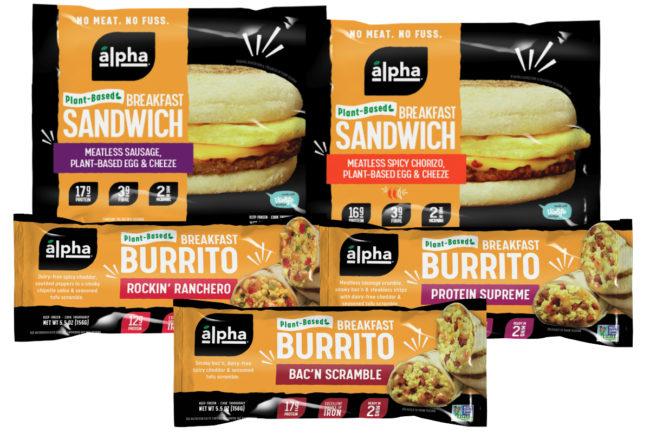 Alpha Foods breakfast sandwiches and breakfast burritos