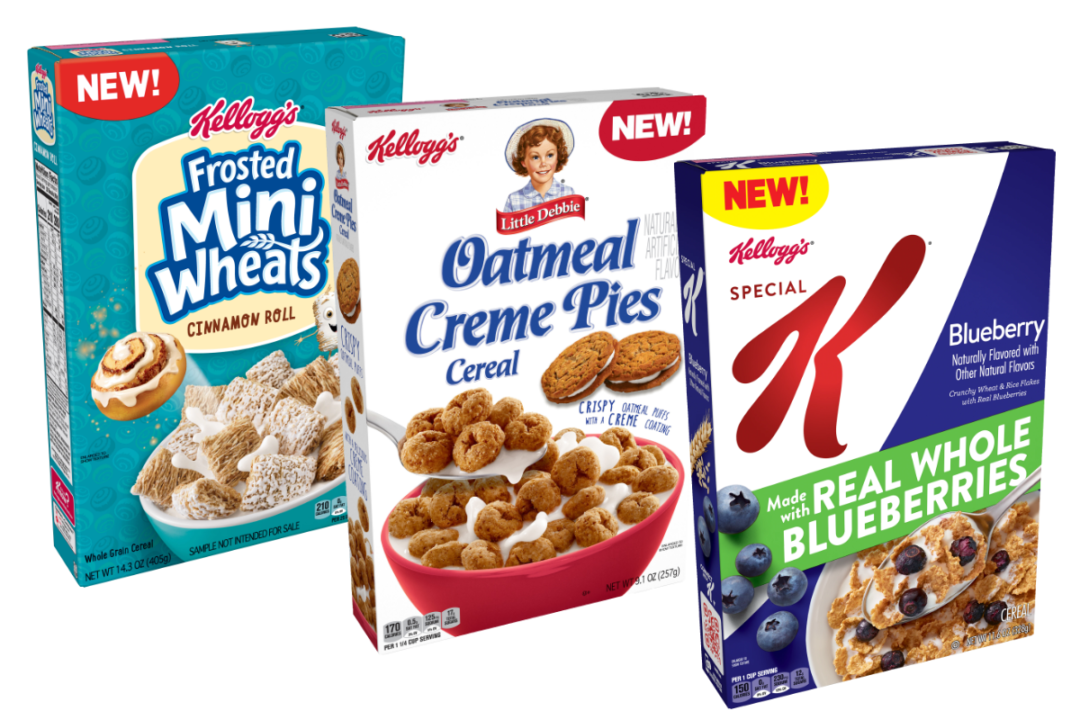 Mini-Wheats Cinnamon Roll, Little Debbie Oatmeal Creme Pie and Special K Blueberries cereals from Kellogg Co.