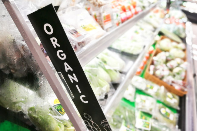 Organic grocery section in a supermarket