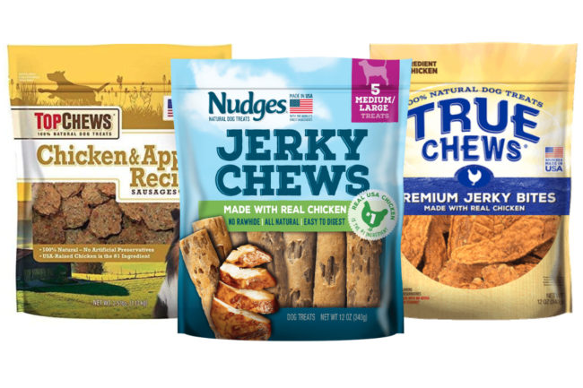 Tyson Nudges, Top Chews and True Chews pet treats