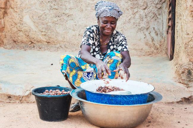 Woman shea worker in Ghana