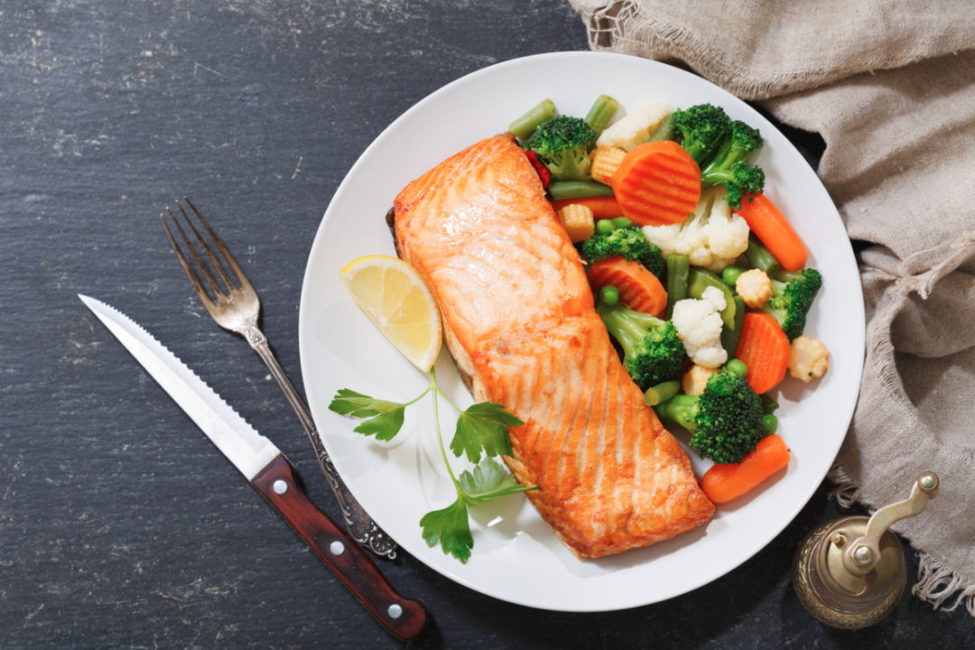 Fish and vegetables meal