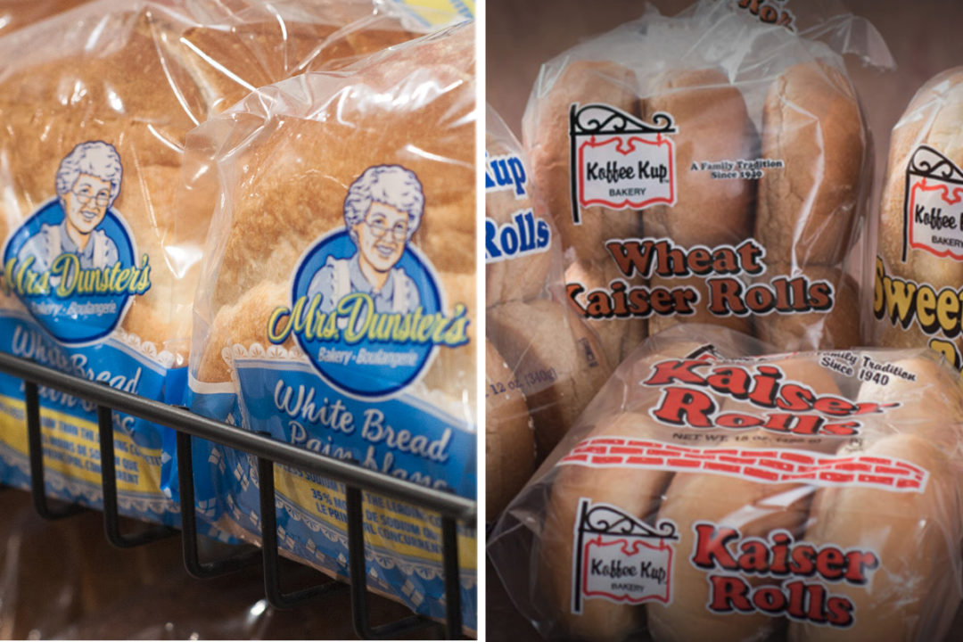 Mrs. Dunster's Bakery bread and Koffee Kup Bakery rolls