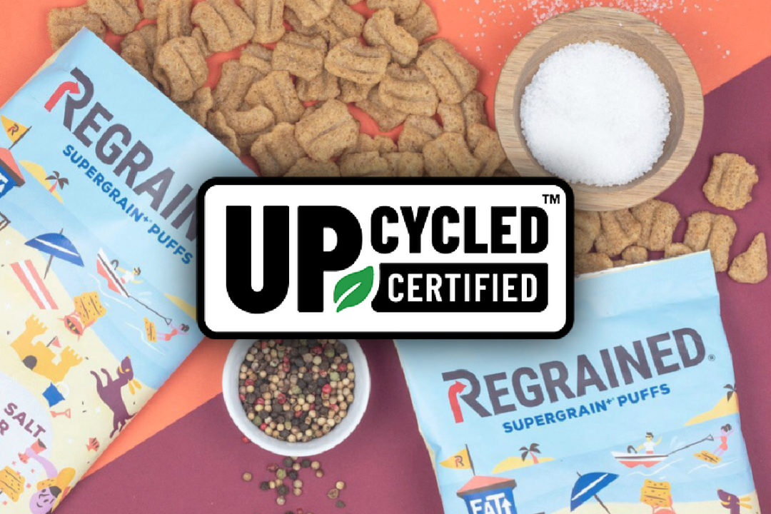 ReGrained puffs and Upcycled Food Association seal