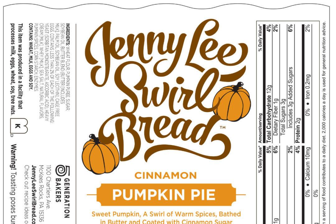 Jenny Lee Pumpkin Pie Cinnamon Swirl Bread