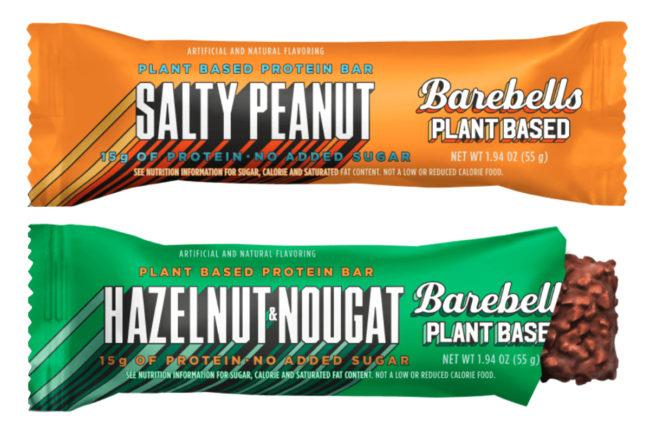 Barebells plant-based salty peanut and hazelnut nougat bars