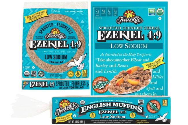 Ezekiel 4:9 Low Sodium Sprouted Flourless English Muffins, Ezekiel 4:9 Low Sodium Sprouted Flourless Crunchy Cereal and Ezekiel 4:9 Low Sodium Sprouted Flourless Tortillas