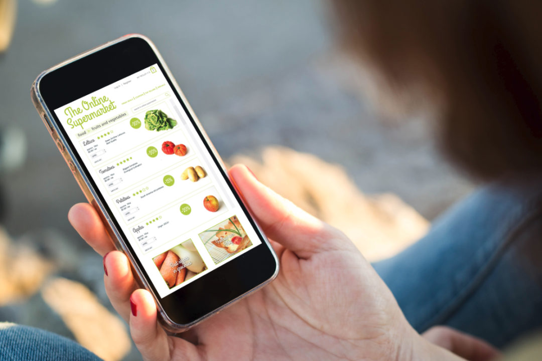 Shopping for groceries online using a mobile phone