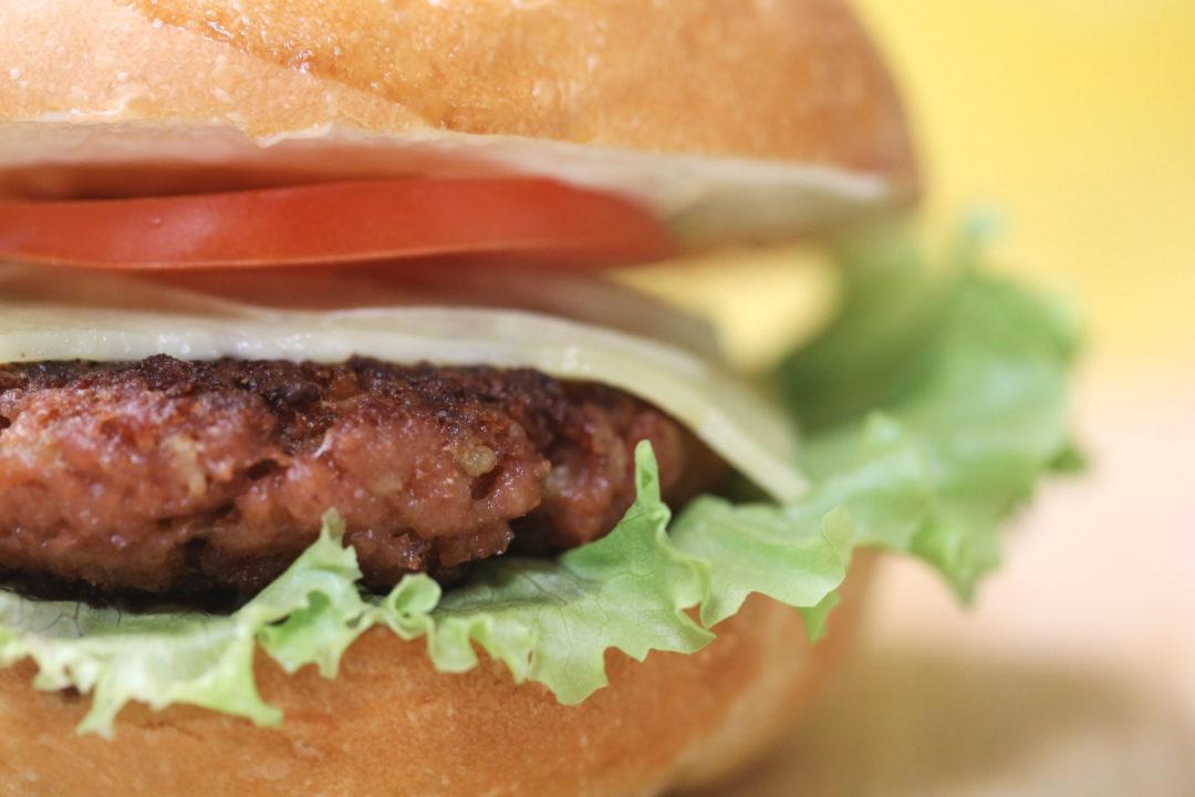 Closeup view of plant-based burger