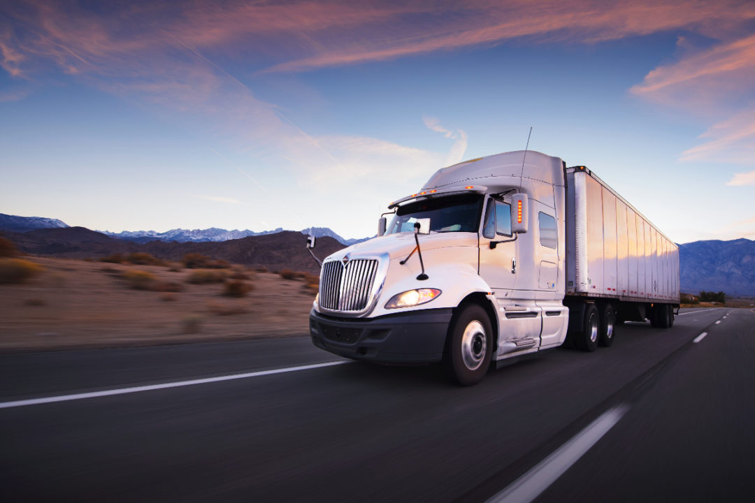 Freight semi driving
