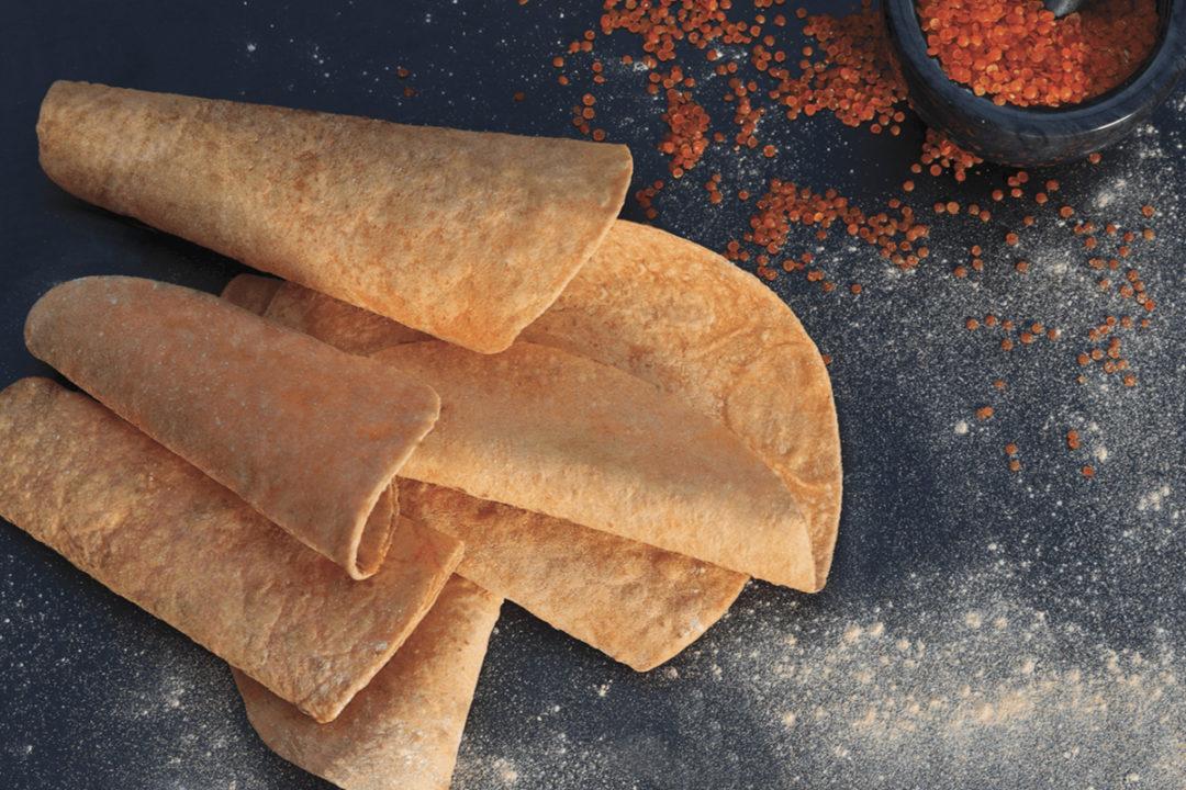 Lord Sandwich Full Wrap gluten-free tortillas made from orange lentils