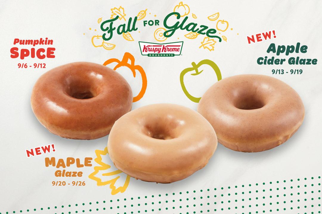 Krispy Kreme pumpkin spice, apple cider glaze and maple glaze donuts