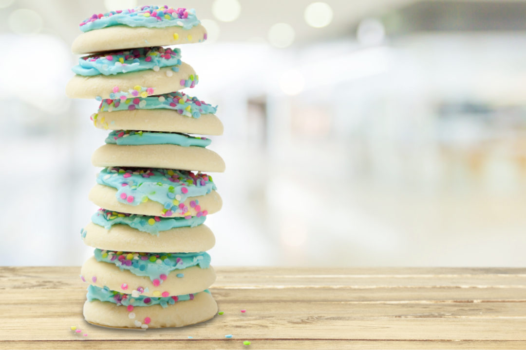 Stack of iced sugar cookies