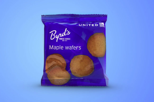 Byrd Cookie Co. maple wafer cookies, United Airlines