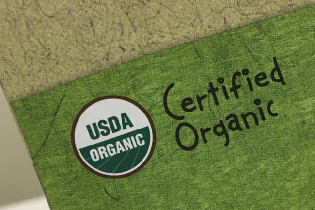 Certified organic label