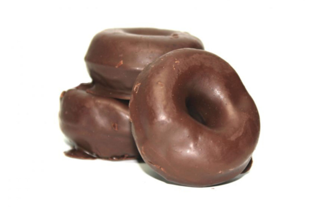 Mini chocolate frosted donuts
