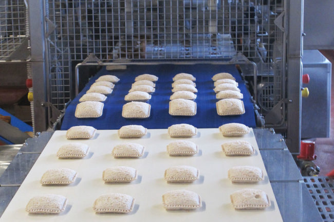 JSB SunWise line of crustless sunflower butter and jelly sandwiches on the production line