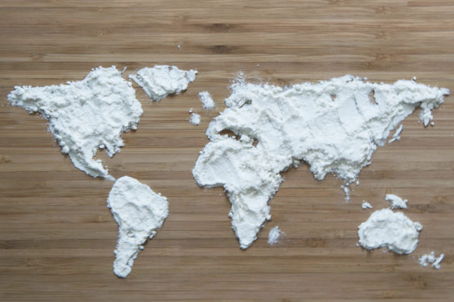 World map in flour