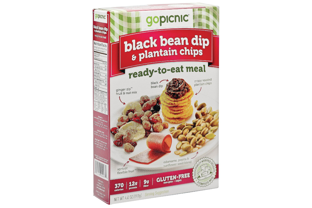 Go Picnic black bean dip and plantain chips meal