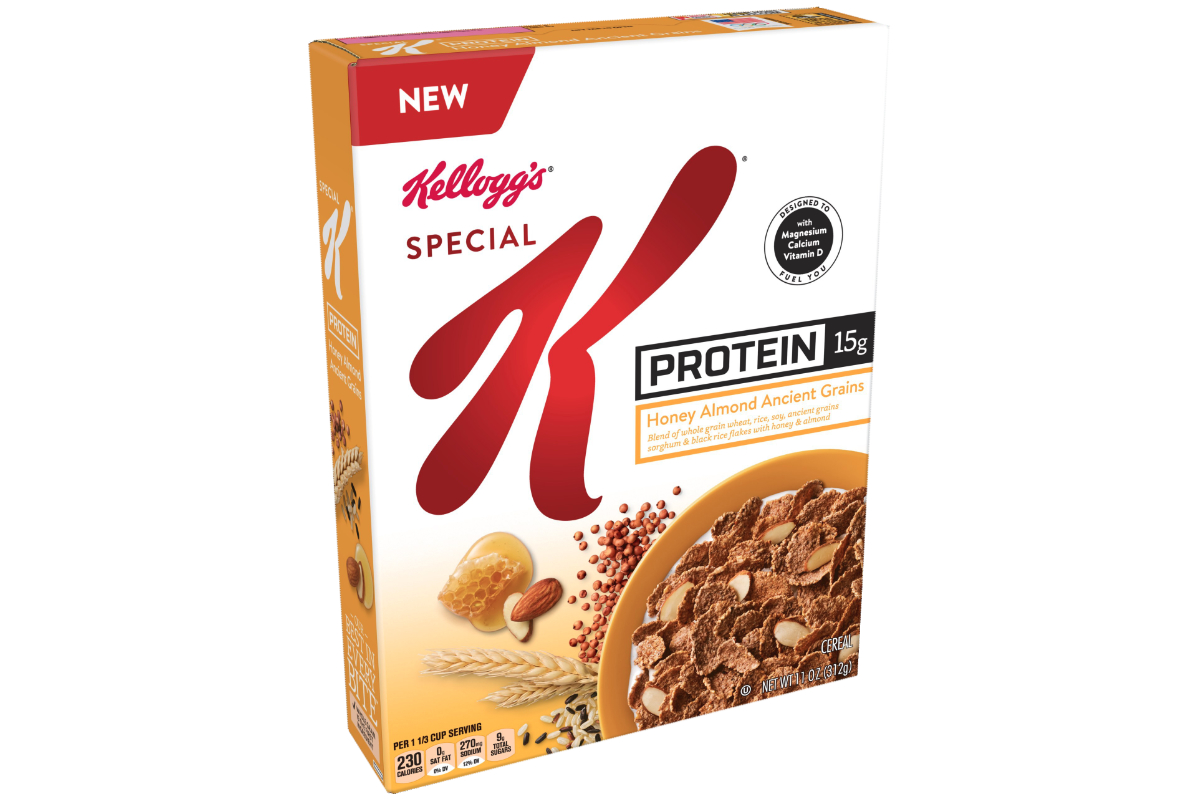 Special K Protein Honey Almond Ancient Grains cereal, Kellogg