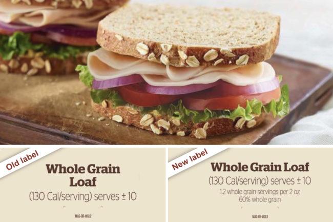 Panera Bread whole grain labels