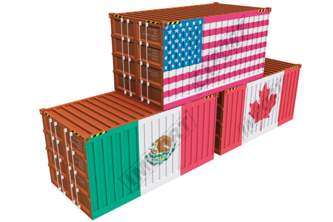 Cargo containers from Canada, Mexico and the United States