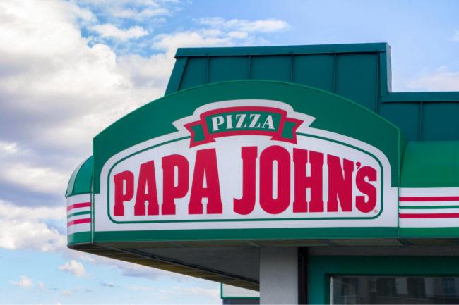 Papa John's Pizza restaurant sign