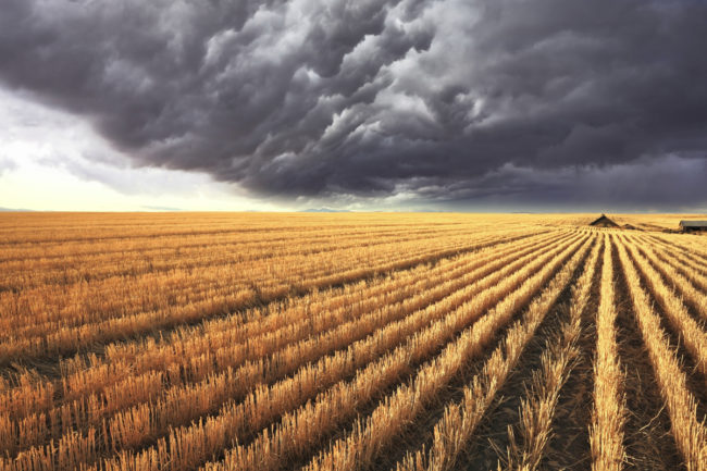 Storm over farm land
