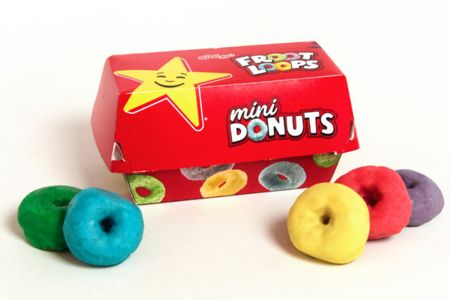 Froot Loops mini donuts at Carls Jr. and Hardees