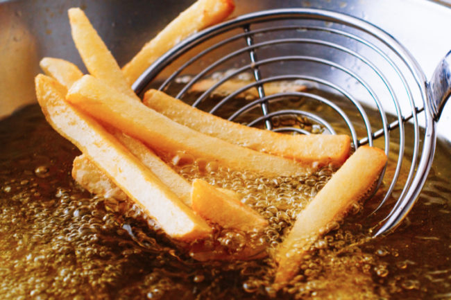 French fries in a deep fryer