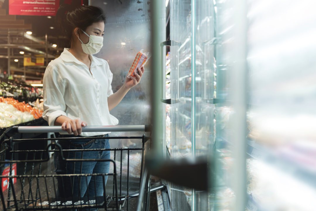Grocery shopping while wearing a mask