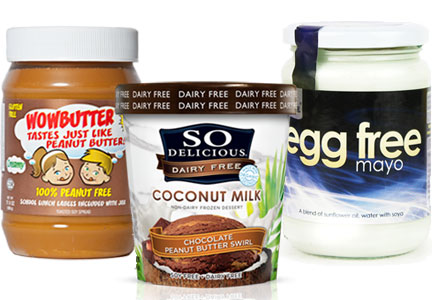 Allergen-free products, nut-free, dairy-free, egg-free