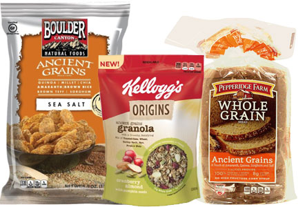 Ancient grains products, Boulder Canyon, Kellogg, Pepperidge Farms