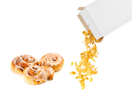 Cinnamon rolls and corn flakes