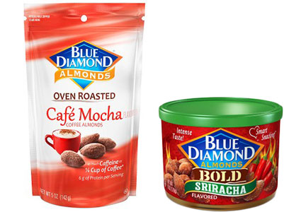 Blue Diamond Cafe Mocha nuts, Bold Sriracha nuts