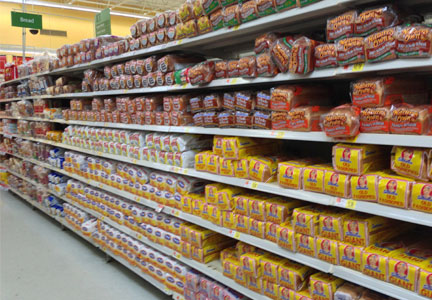 Bread aisle in grocery store