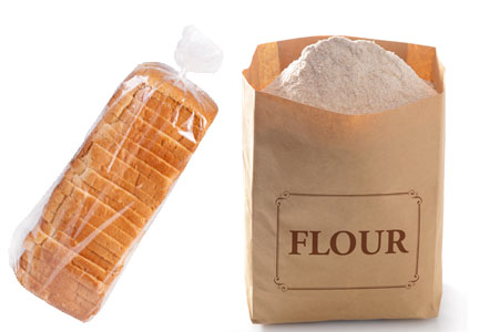 Loaf of bread and bag of flour