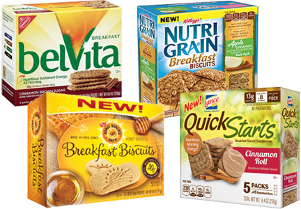 Breakfast Biscuits - Mondelez belVita, Kellogg Nutri Grain, Post Honey Bunches of Oats, Snyder's-Lance Quick Starts