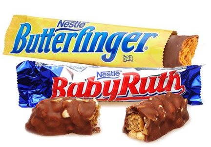 Nestle chocolate candy bars - Butterfinger, Baby Ruth