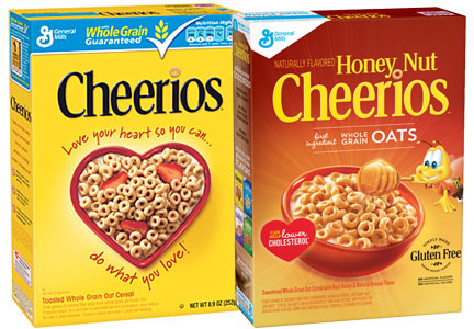 Boxes of Cheerios and Honey Nut Cheerios