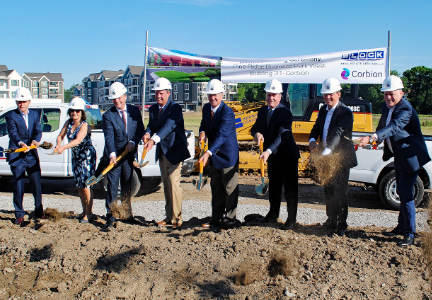 Corbion groundbreaking - Eddy van Rhede, chief financial officer for Corbion; Jacqueline van Lemmen, executive vice-president of operations for Corbion; Tjerk de Ruiter, chief executive officer of Corbion; Andy Muller, executive vice-president of Biobased Ingredients for Corbion; Kenneth Block, managing principle of Block Real Estate Services, L.L.C.;  Michael Boehm, mayor of Lenexa, Kas.; Marcel Wubbolts, Ph.D., chief technology officer for Corbion; and Johan van der Hel, executive vice-president of human resources for Corbion