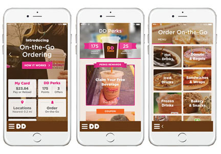 Dunkin' Donuts on the go mobile ordering app