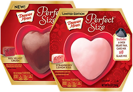Duncan Hines Perfect Size heart-shaped cakes for Valentine's Day, Pinnacle Foods