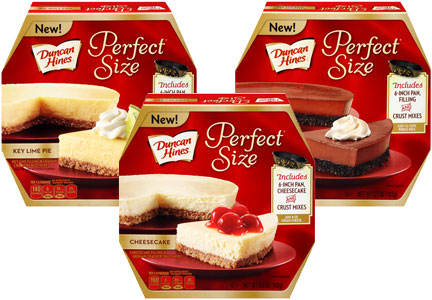 Duncan Hines Perfect Size cheesecake, key lime pie, chocolate dream pie, Pinnacle Foods