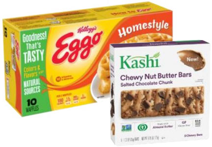 Eggo waffles with no artificial colors or flavors, Kashi nut butter bars, Kellogg